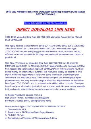 download 1946 Mercedes Benz Type 170 220 300 workshop manual