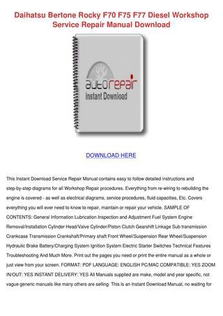 download Daihatsu Fourtrak F70 F75 F77 Manua workshop manual