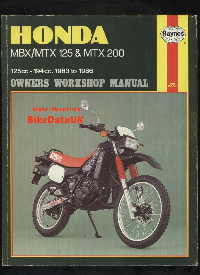 Honda Mbx  Mtx 125 And Mtx200 1983  U2013 1993 Haynes Owners