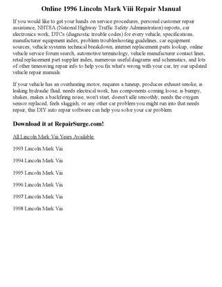 download Lincoln Mark Viii workshop manual