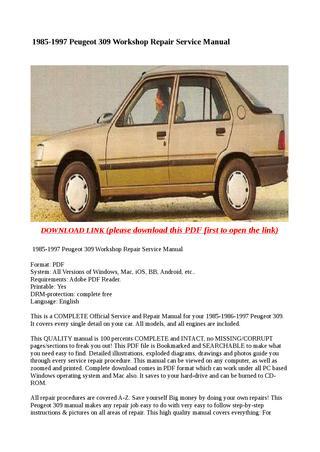 download Peugeot 309 workshop manual